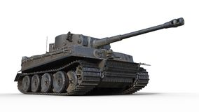Old army tank, vintage armored military vehicle with gun and turret  on white background, bottom view, 3D render. Ing stock images