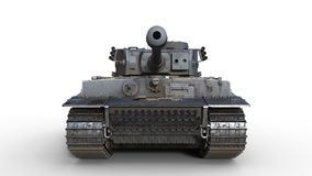 Old army tank, vintage armored military vehicle with gun and turret  on white background, front view, 3D render. Ing stock photos