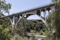 Old Arroyo Bridge Pasadena, California. Historic Colorado Blvd bridge in Pasadena, California Royalty Free Stock Images