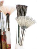 Old art brushes. Old, used art brushes; macro and high-key Stock Photography