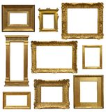 Old Art Gallery Frames. Different period stlyles of antique gold picture frames isolated on white background Royalty Free Stock Photos