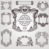 Old art nouveau set label banner element vintage set Royalty Free Stock Photos