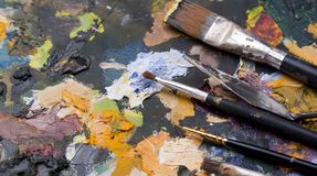 Old art palette Stock Photo
