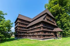 Old articular wooden church in Hronsek - Slovakia. Hronsek, Slovakia - AUGUST 06, 2015: Hronsek. Old fully wooden one of the five preserved artucular churches in Stock Photo