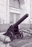 Old artillery in black and white Royalty Free Stock Photo