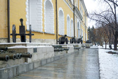 Old artillery exposition in Moscow Royalty Free Stock Photography