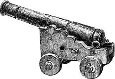 Old artillery gun. Vector drawing of an ancient gun Stock Photography