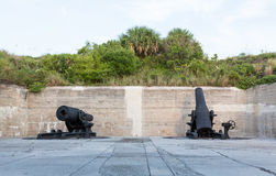 Old artillery guns at Fort de Soto Florida. Fort de Soto museum housing old artillery and military guns and cannons used in Spanish American war Royalty Free Stock Photography