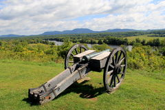Old artillery resting near edge of Hudson River Royalty Free Stock Image