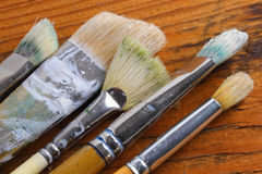 Old artist brushes Royalty Free Stock Images