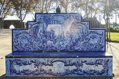Old, artistic and decorative tiles. Bank made of old, artistic and decorative tiles stock images