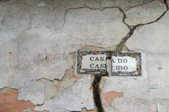 Old, artistic and decorative tiles. Placed on walls stock photo