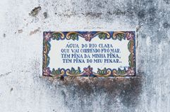 Old, artistic and decorative tiles. Placed on walls royalty free stock image
