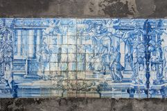 Old, artistic and decorative tiles. Placed on walls royalty free stock images