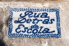 Old, artistic and decorative tiles. Placed on walls stock photography