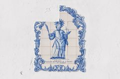 Old, artistic and decorative tiles. Placed on walls royalty free stock photography