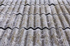 Old fiber asbestos home roof Stock Image