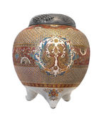 Old Asian cloisonné decorated jar. Stock Photography