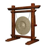 Old asian gong. 3D Illustration isolated on white Stock Photos