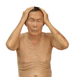 An old asian man. With health problem action on white background Royalty Free Stock Image