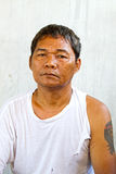 Old asian man homeless. And no work Royalty Free Stock Photo