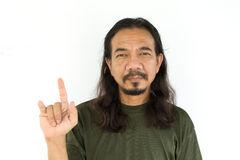 Old asian man with long hair Royalty Free Stock Photo