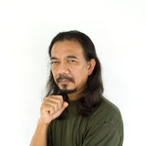 Old asian man with long hair Stock Photography