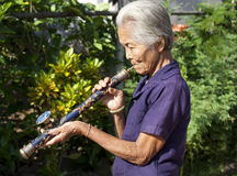 Old Asian woman with opium pipe Stock Images