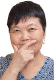 Old asian woman thinking Royalty Free Stock Photography