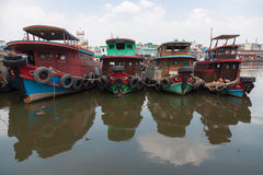 Old Asian wooden boats Royalty Free Stock Images
