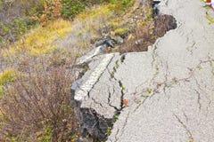 Old asphalt road in landslide Stock Photography