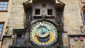 Old astronomical clock in center square of Prague stock video footage