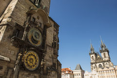 Old astronomical clock with Church of our lady before Tyn Stock Photography