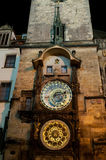 Old astronomical clock at night. Royalty Free Stock Images