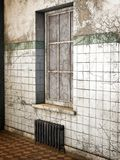 Old Asylum, 3D CG. An old abandoned asylum building with broken tiles vector illustration