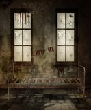 Old asylum room. Old room in an abandoned asylum with a rusty bed vector illustration