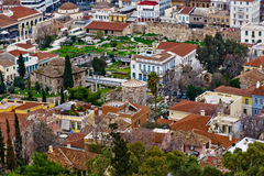 Old Athens, colored tiled roofs. Old Athens under the Acropolis Colored tiled roofs Stock Images