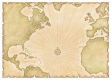 Old Atlantic Map. Old style map of Atlantic and Spanish Main, on parchment style background Royalty Free Stock Images