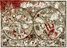 Old atlas map of world with bloody hand print and drops royalty free illustration