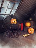 Old attic with Halloween pumpkins royalty free illustration