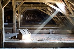 Old attic of a house, hidden secrets Royalty Free Stock Photo