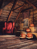 Old attic with pumpkins Stock Photography