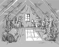 Old Attic, vector illustration Royalty Free Stock Photos