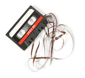 Old audio cassette. On white background stock photo