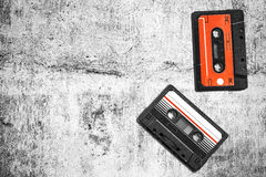 Old audio cassette. Multicolored audio tapes. Close-up view. The concept of old music. large collection of retro cassette tapes. Royalty Free Stock Image
