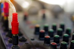 The old audio mixer and microphone. In school Stock Photo