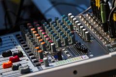 Old audio sound mixer control panel Stock Photo