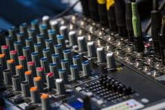 Old audio sound mixer control panel Stock Photos