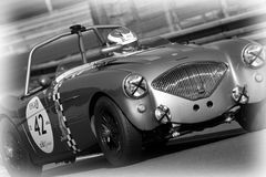 Old Austin Healey in Le Mans Royalty Free Stock Image