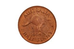 Old Australian Half Penny Isolated On White Royalty Free Stock Images